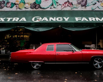 Car Photography, Garage Decor, Car Art, Men's Gift, Classic Car Photo, Red Cadillac, Brooklyn, Vintage Cars, Wall Decor, Fine Art Prints