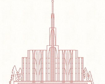 Seattle Washington LDS Temple, Redwork Embroidery Design, digital instant download file.