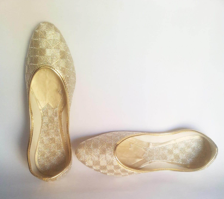 US Size 7 Gold Wedding Shoes Women Ballet Flats Gold Ballet