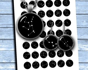 Star Constellations 1 inch, 25mm, 18mm, 16mm  for Jewelry Making, Bottle cap images Printable Images Digital Collage Sheets Instant Download