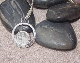 Unique solid silver circle pendant with chain