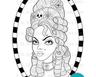 digital stamp goth Marie Antoinette with skulls and flowers in beehive hair digistamp and coloring page by SLS Lines