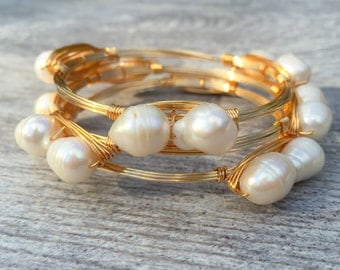Large Fresh Water Pearl Wire Wrapped Bangle