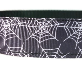 """Black Spider Web Halloween Nylon Dog Collar * 1"""" Width Only * Buckle Collar * Martingale Collar * Chain Martingale"""