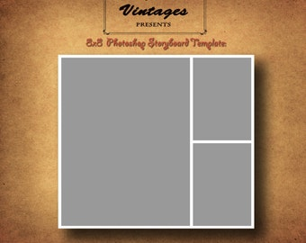 Instant Download- 8x8 Storyboard Photographers Template Photoshop Digital Collage 3 Panel Photo Blog Board no. 2