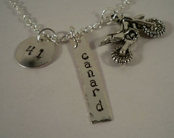 Trey Canard #41, Motocross, Dirt Bike Racing, Motorcycle, Hand Stamped Charm Necklace