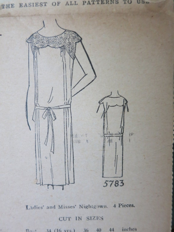 "1920s Women""s Nightgown Dress Lingerie Sewing Pattern Minerva 5783 Bust 34"