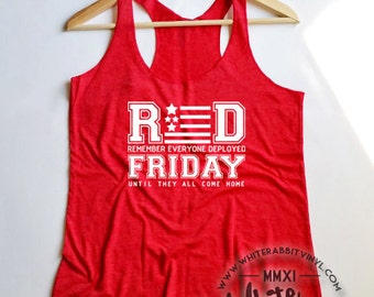 RED Friday Remember Everyone Deployed Women's Tank Top SALE