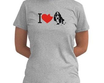 I Love Basset Hound  Silhouette Women T-Shirt