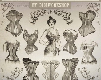 "Corset Clip Art: ""Vintage Corsets"" victorian clipart contains a collection of digital images with vintage french corsets"