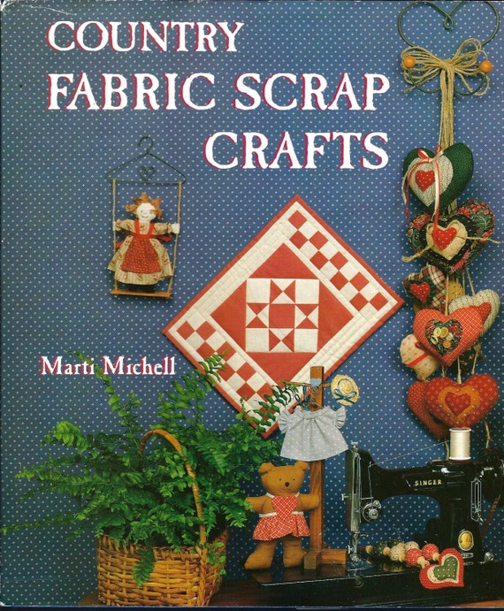 Fabric Hardcover Book ~ Country fabric scrap crafts book hardcover illustrated