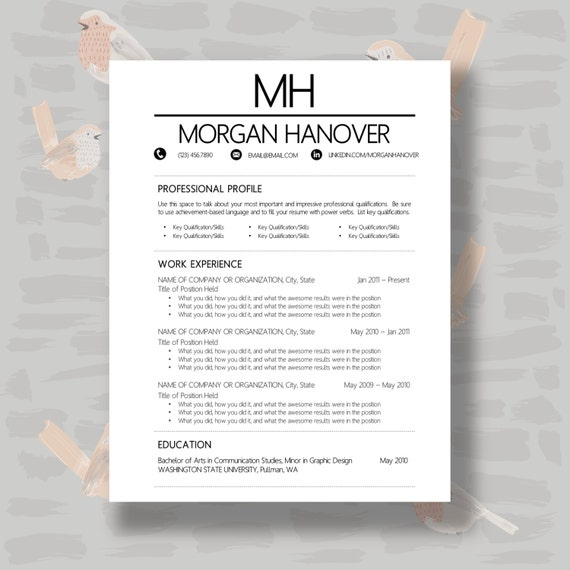 buy 1 get 1 free resume template cover letter by theresumeshoppe