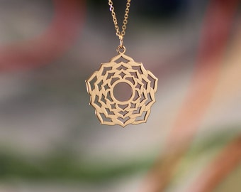 necklace,  in 14Kt gold  with chakra, sahasrara, crown chakra