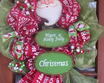 """24"""" Christmas Wreath Santa Claus Wreath Holly Jolly Wreath Santa Face Wreath Ho Ho Ho Wreath Christmas Burlap Deco Mesh Red/Green Wreath"""