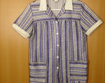 Cute Yellow & Purple Striped Vintage Blouse / Pockets