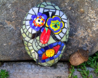 Munchin' Morton - Comically Creepy Zombie Mosaic Art Stone - Stained Glass & Salvaged Lampwork Beads on Stone Substrate