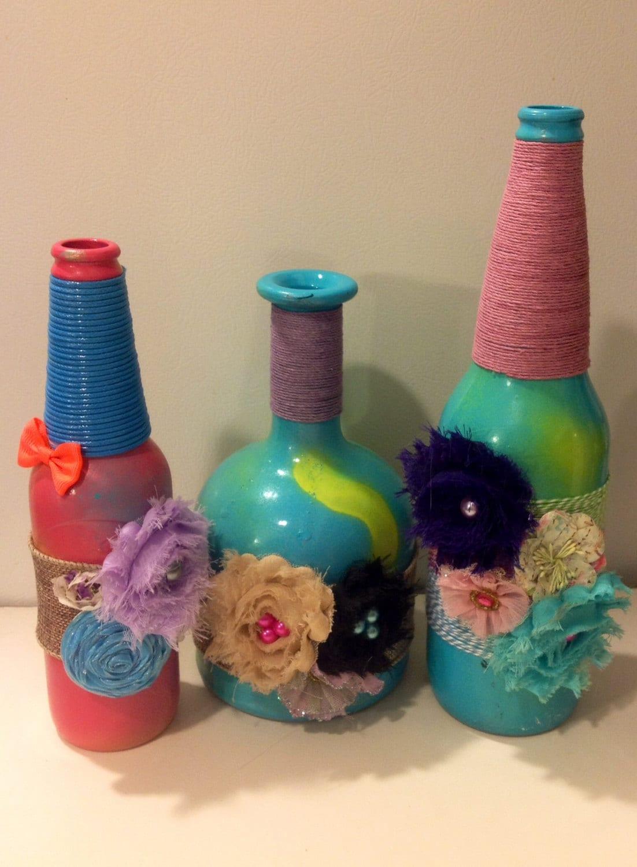 rainbow wine bottle vases tie dye bottles by maidenlongisland