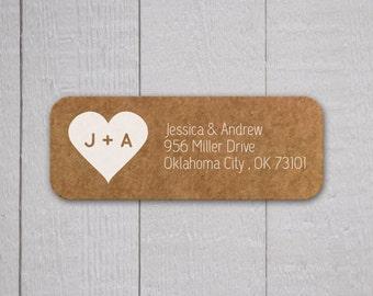 Wedding Invitation Return Address Labels, Kraft Wedding Stickers, Transparent Return address stickers for invitations (#307)