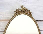 Vintage Gold Mirror Tray Vanity Oval - Floral Flower Bird Filigree Trim Rim Jewelry Display - Hollywood Regency - Wall Hanging Girl Nursery