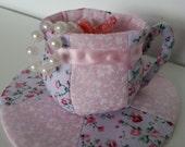 Handmade Fabric Tea Cup Trinket Jewellery Holder Basket Box Tray