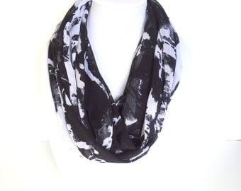 Black and White Scarf, Summer Infinity Scarf, Lightweight scarf, Abstract Print