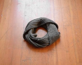 Neutral Knit Scarf, Dark Gray Infinity Scarf, Gray Knitted Scarf, Hand Knit Scarf, Neutral Circle Scarf, Neutral Knit Snood, Gray Knit Cowl
