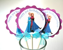 Anna & Elsa Cupcake Toppers Frozen Theme Birthday Party Frozen Cupcake Toppers Purple and Teal
