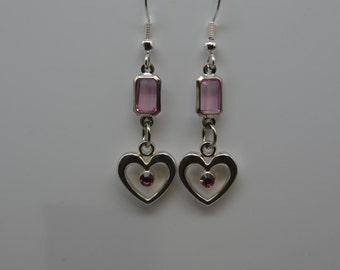 Heart Valentine Pink Heart Dangle Earrings