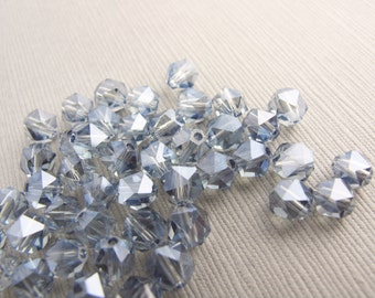24pcs Czech Pale Blue / Grey Faceted Round Glass Bead 5mm - B-07Bl-103, Real Czech Beads