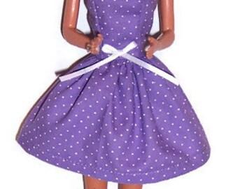 Fashion Doll Clothes-Lavender Polka Dot Strapless Party Dress