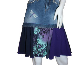 Upcycled Denim Skirt (4-6), Altered Jean Skirt, Eco-Friendly Clothing, T-Shirt Denim Skirt
