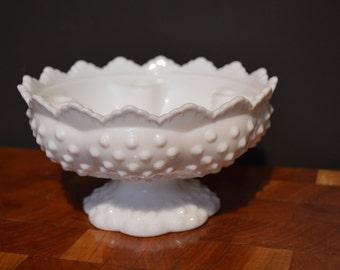 Fenton Hobnail Milkglass Candleholder Centerpiece