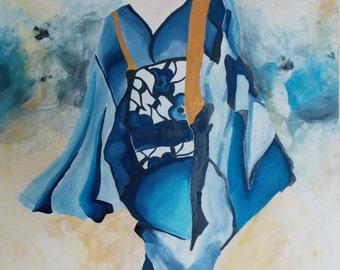 "Large Oil Painting On Canvas. Blue Geisha. 36x48x.75"""