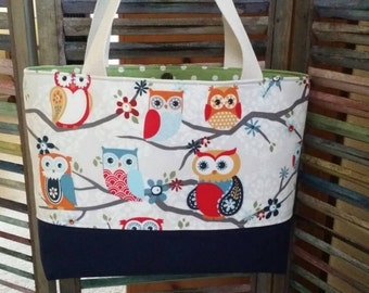 Owl Bag, Tote Cream and Navy