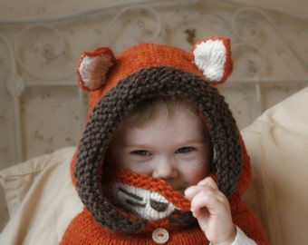 Knitted fox hood cowl Rene (baby, toddler, child or adult size)