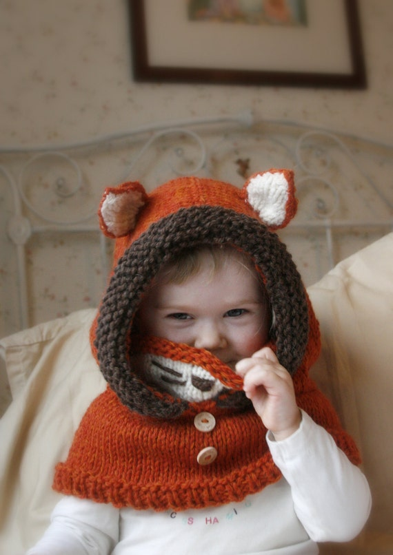 Knitting Pattern For Child s Fox Hat : KNITTING PATTERN fox hood cowl Rene baby toddler by MukiCrafts
