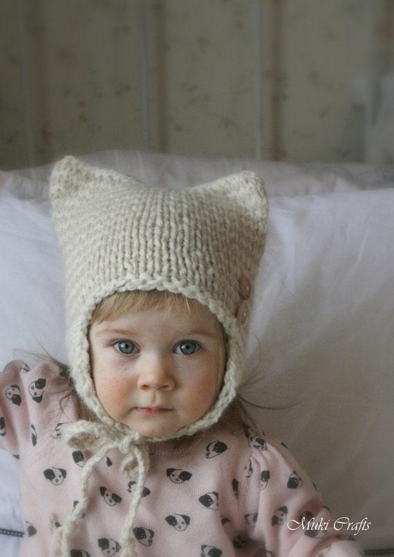 Knitting Pattern Cat Striped Earflap Hat Kitty Kat Baby