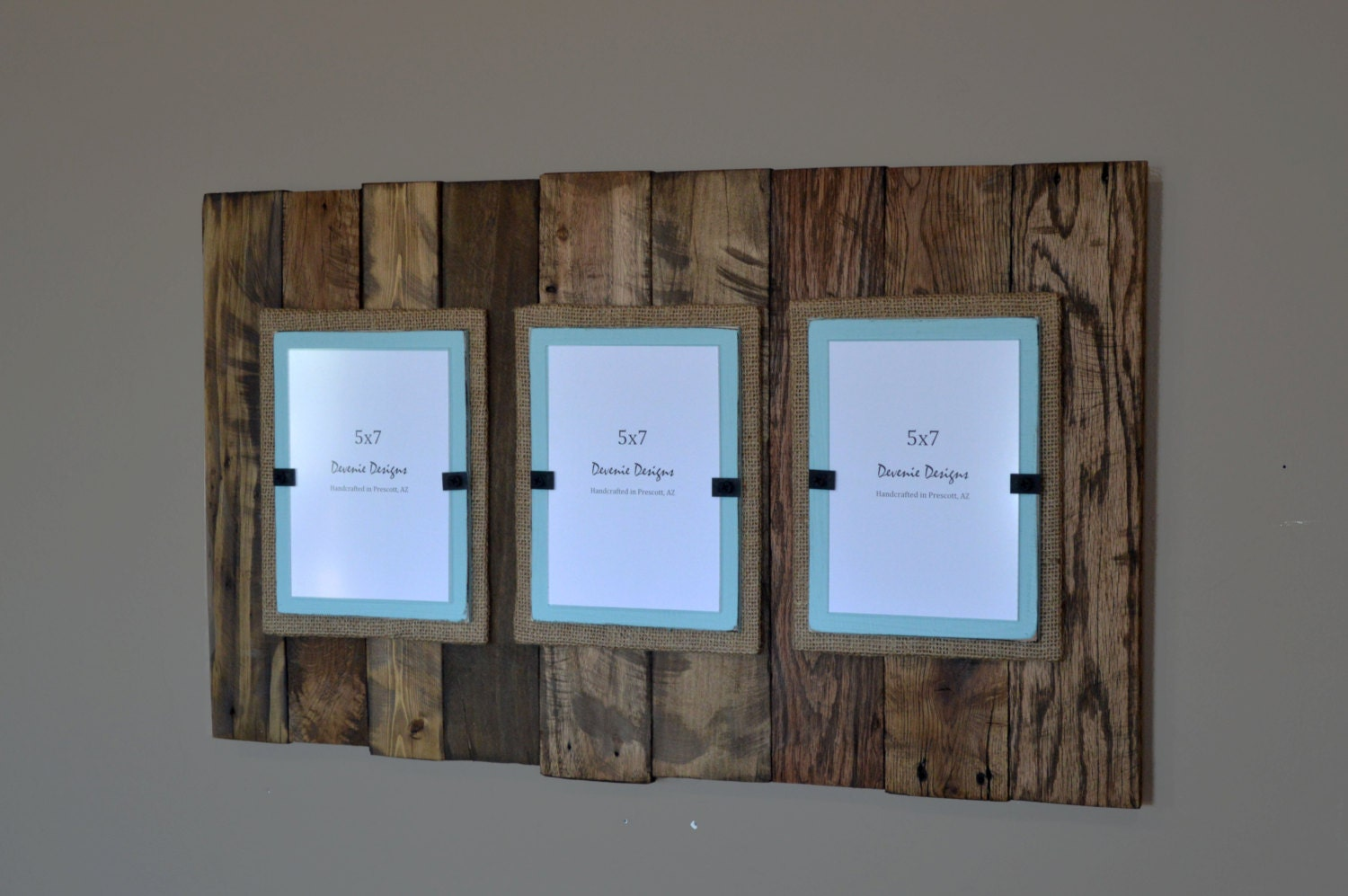 triple plank frame for 5x7 pictures reclaimed by deveniedesigns. Black Bedroom Furniture Sets. Home Design Ideas
