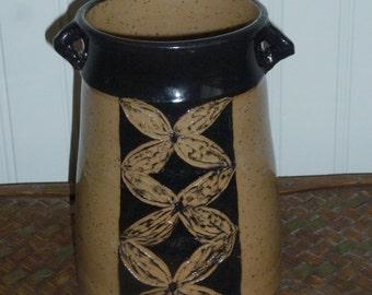 """Pottery Vase Utensil Holder Stoneware Handmade Wheel Thrown  Sgraffito  7""""x5.5"""" Lead Free Glaze"""