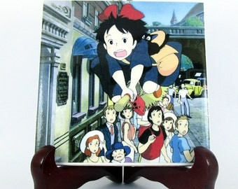 Kiki flying on the broom from Kiki's Delivery Service, collectible ceramic tile, Studio Ghibli , Miyazaki, Anime ,Manga ,Japan Mod.1