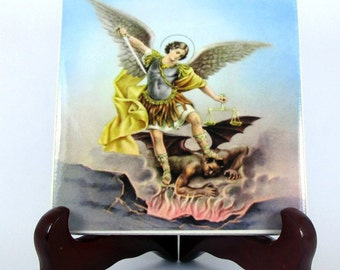 Saint Michael the Archangel ceramic - catholic plaque - tile - icon perfect religious gift for him / decor - wall art Mod.5