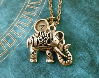 Elephant Necklace Personalized Indian Elephant Pendant Customized Necklace Brass Elephant Jewelry Monogram Necklace Animal Charm Necklace