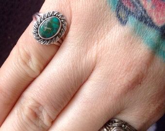 Native American Easter Blue Turquoise + Sterling Silver Ring Size 6
