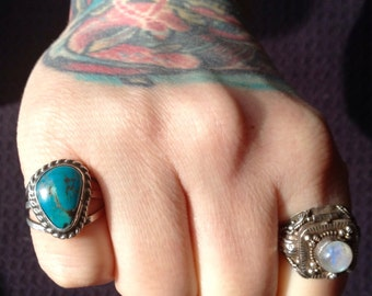 Native American Kingman Turquoise + Sterling Silver Ring Size 6
