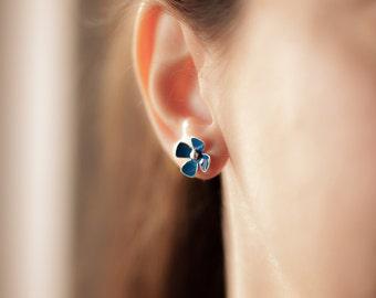 Forget me not blue flowers sterling silver and enamel stud earrings