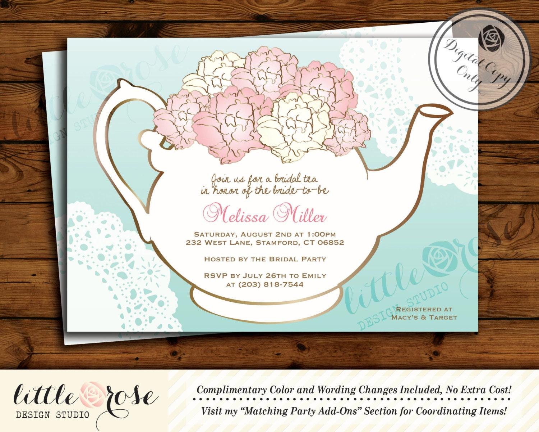 bridal tea party invitation bridal shower invite baby shower tea