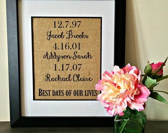 Children's Birthdates Burlap Print. Custom Dates Burlap print. Important dates burlap print. Mother's Day gift. Father's Day gift.