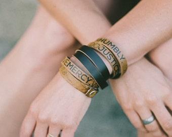 Micah 6:8 Leather Double Wrap Bracelet