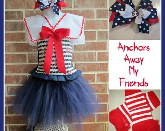 Boutique custom handmade pageant girls Halloween Costume Sailor Nautical Navy tutu, corset and collar