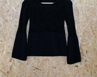90s black fluffy fuzzy sweater elephant sleeves